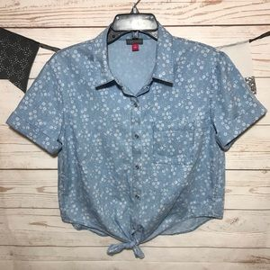 Vince Camuto Chambray Floral Button Down Shirt S